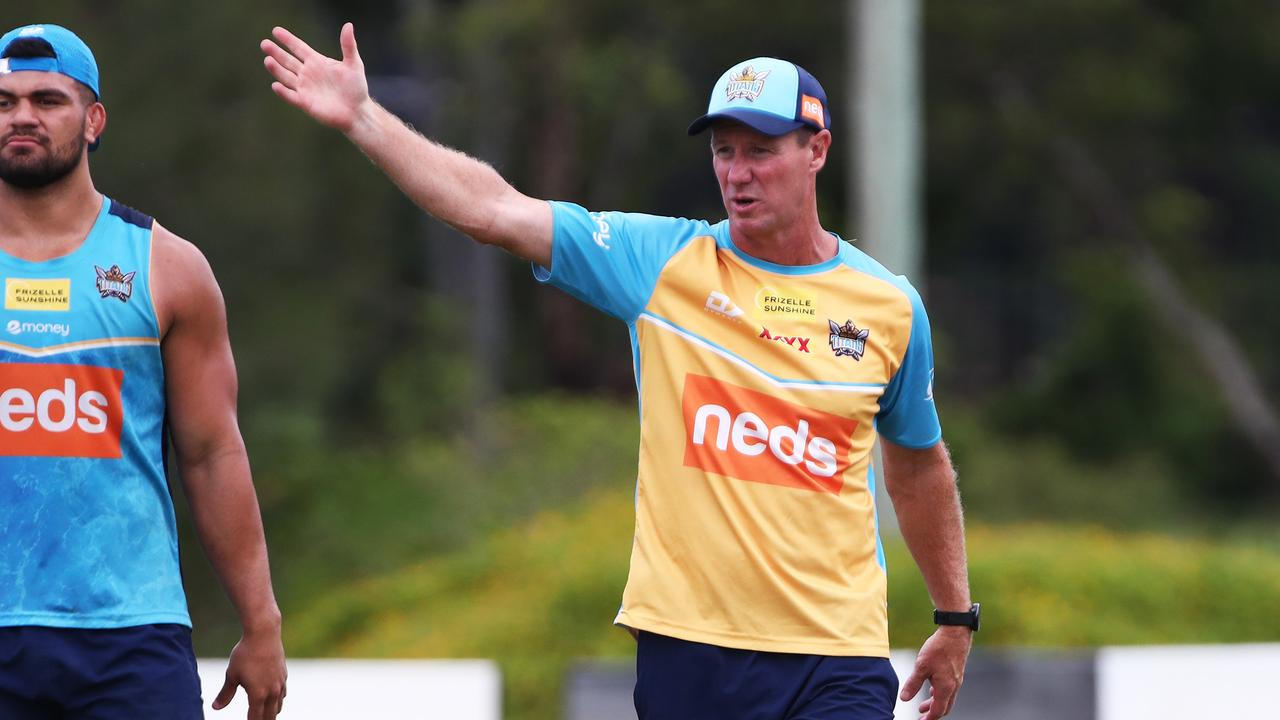 TITANIC TRAINING: Gold Coast Titans Head Coach Justin Holbrook during a training session at Parkwood. Photograph: Jason O'Brien