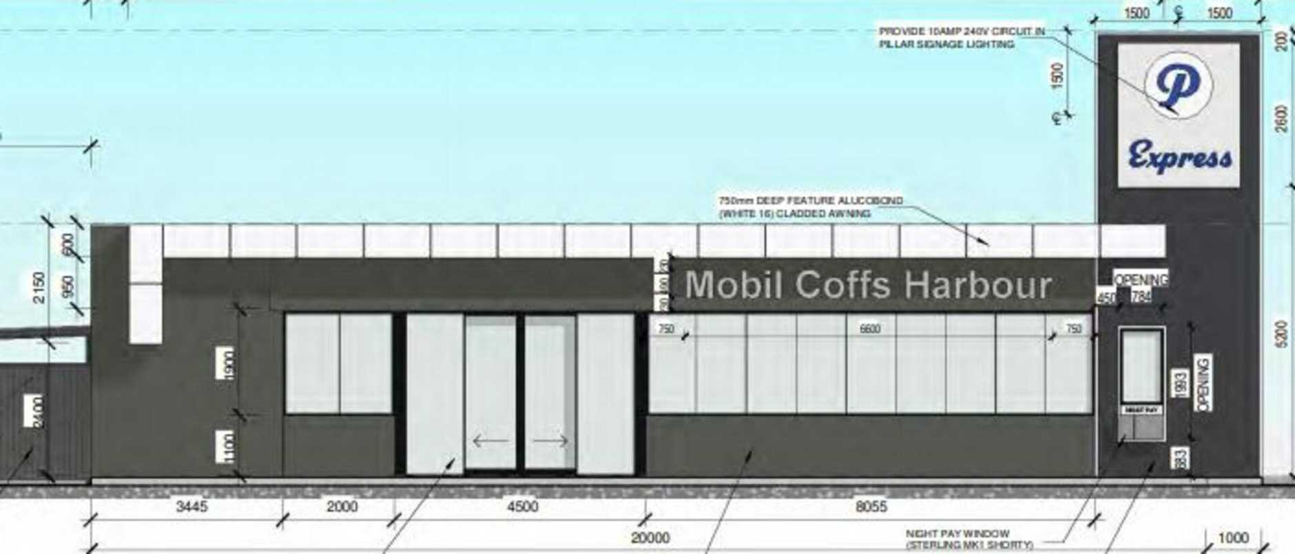 Elevation drawing of the proposed service centre on the Pacific Highway in Coffs Harbour.