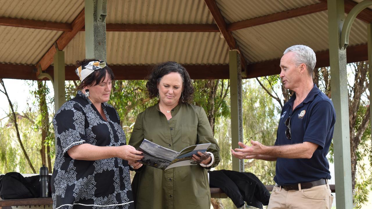 Cr Melinda Jones, Carly Baker Burnham, and Rural Aid CEO John Warlters in Monto. Picture: Sam Turner
