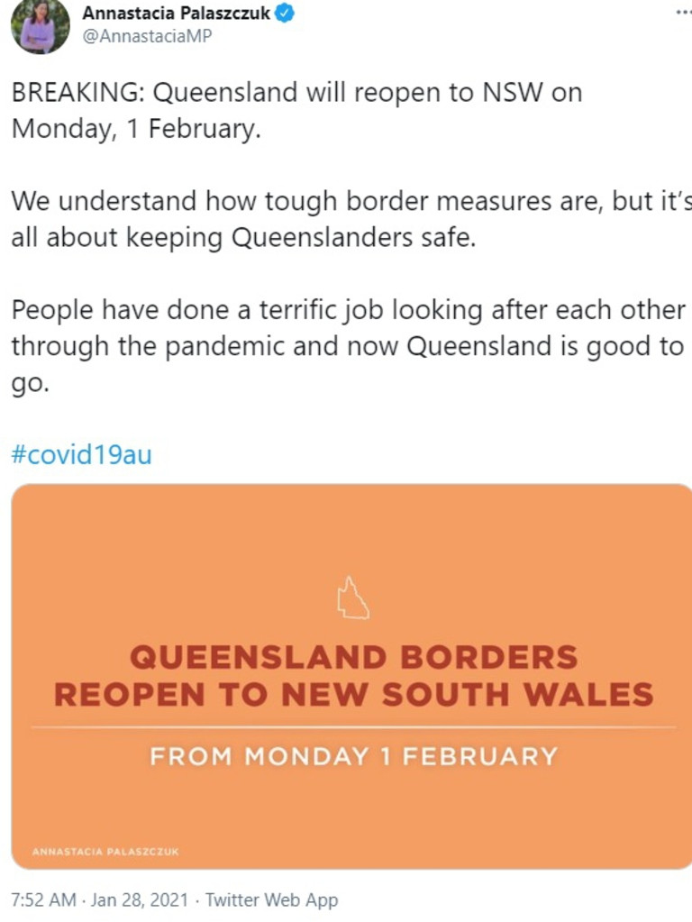 Premier Annastacia Palaszczuk announced border checkpoints would come down on Monday, February 1.