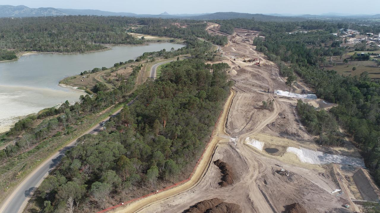 Aerial view of clearing works near Gympie for the final section of the Cooroy to Curra Bruce Highway Bypass.