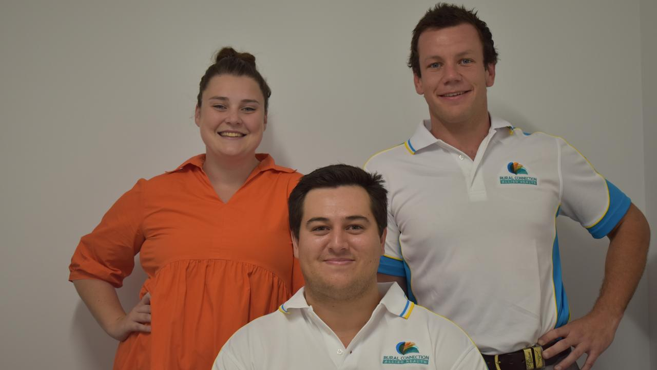 NEW PRACTICE: Tess Enchelmaier, Dean Cullen, and Harry Marshall have launched Rural Connection Allied Health to service Warwick and the wider Southern Downs.
