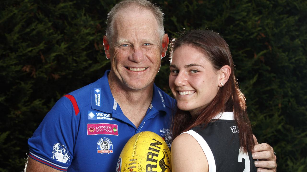 Father and daughter the day before her AFLW debut. Picture: David Geraghty