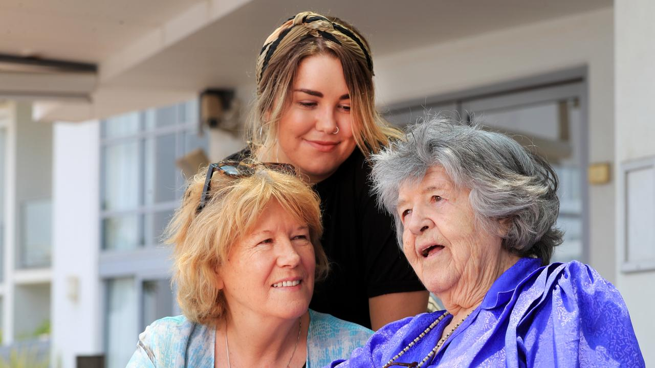 The late Laura Henkel with daughter, Cathy Henkel, and granddaughter Sam Lara Canin-Henkel, in Ballina in 2019.