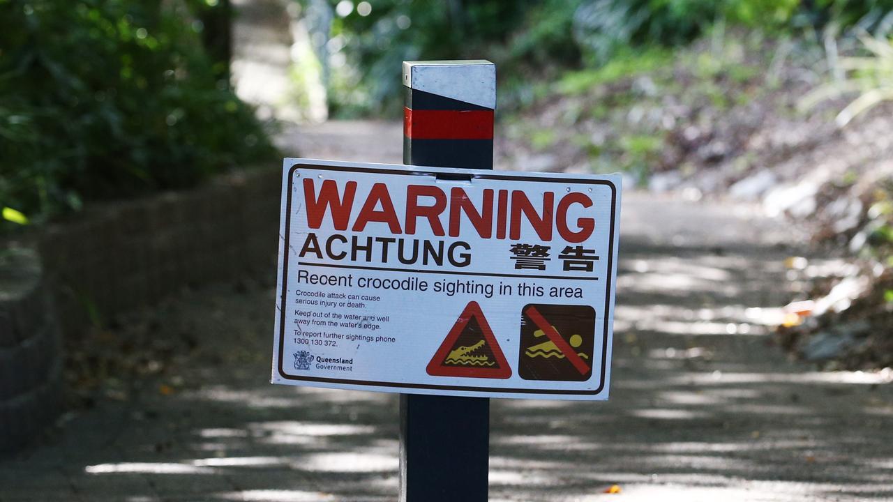 A crocodile warning sign at Lake Placid. PICTURE: BRENDAN RADKE