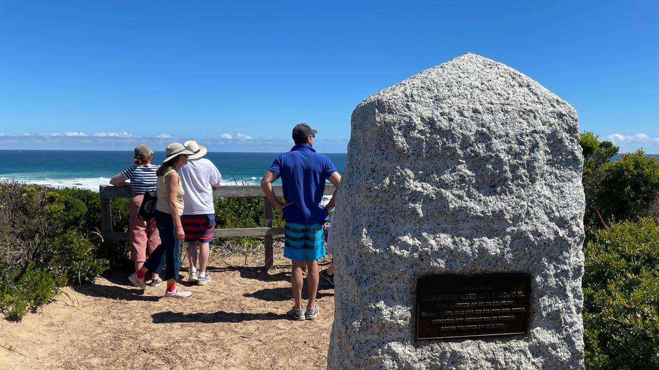 The memorial cairn for Harold Holt overlooking Cheviot Beach. Picture: Jamie Duncan