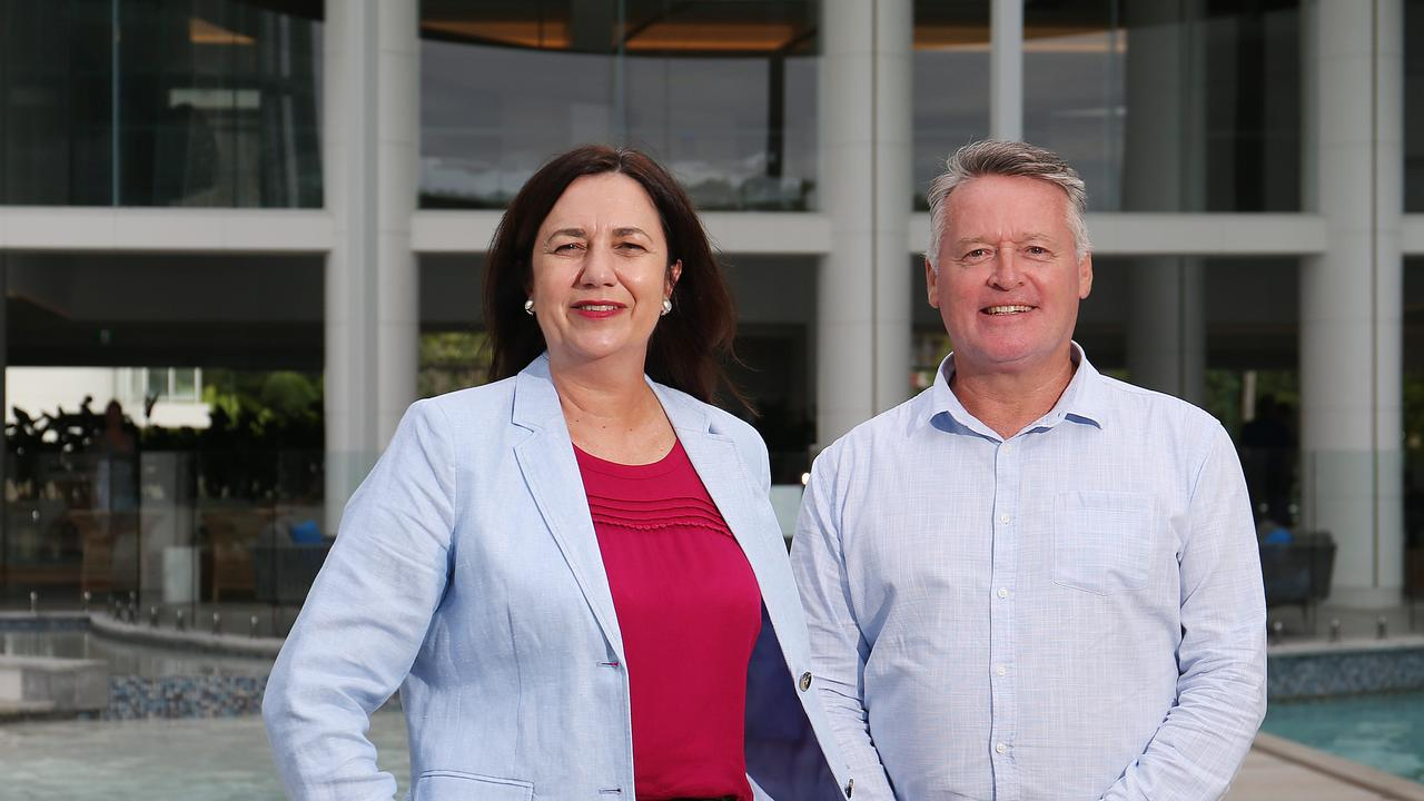 Queensland Premier Annastacia Palaszczuk with State MP for Cairns Michael Healy. Picture: Brendan Radke