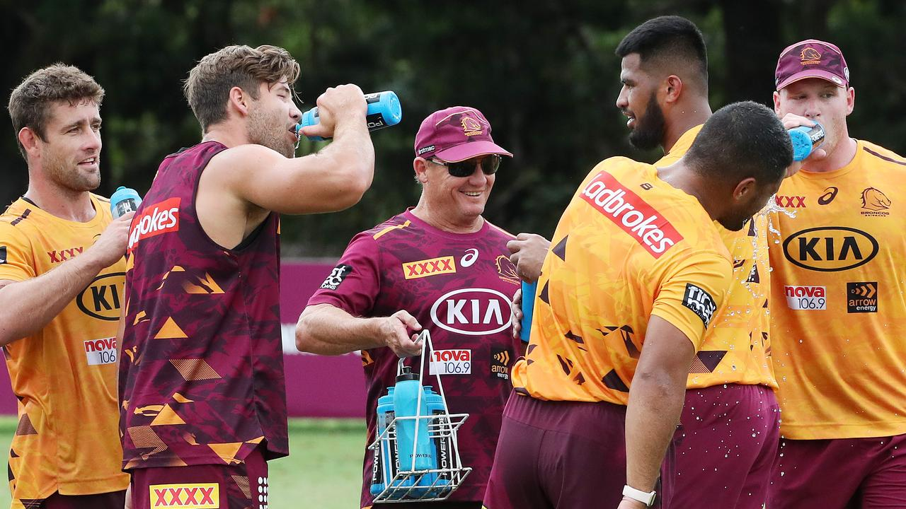 Coach Kevin Walters during Broncos training at Red Hill. Photo: Liam Kidston.