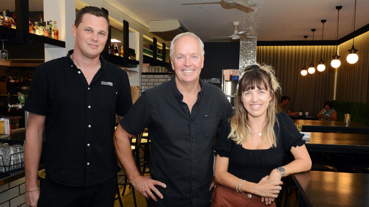 Tony Clarke, Brett Freeburn and Cenza Freeburn at Choux Box Cafe in Kingscliff, which has claimed the top spot in News Corp's search for the best cafe on the Tweed. Picture: Liana Boss