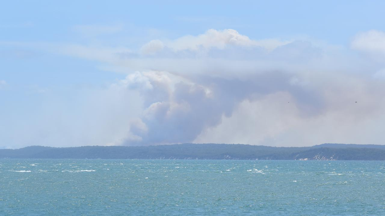 The Fraser Island fire as seen from River Heads. Photo: Stuart Fast