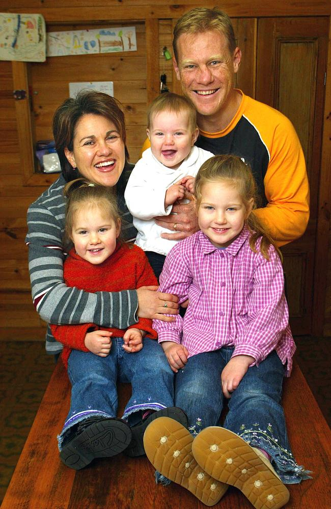 The Burke family in 2003: Nathan with wife Fiona and daughters Ruby, 4, Molly, 3, and Alice, 9 months.