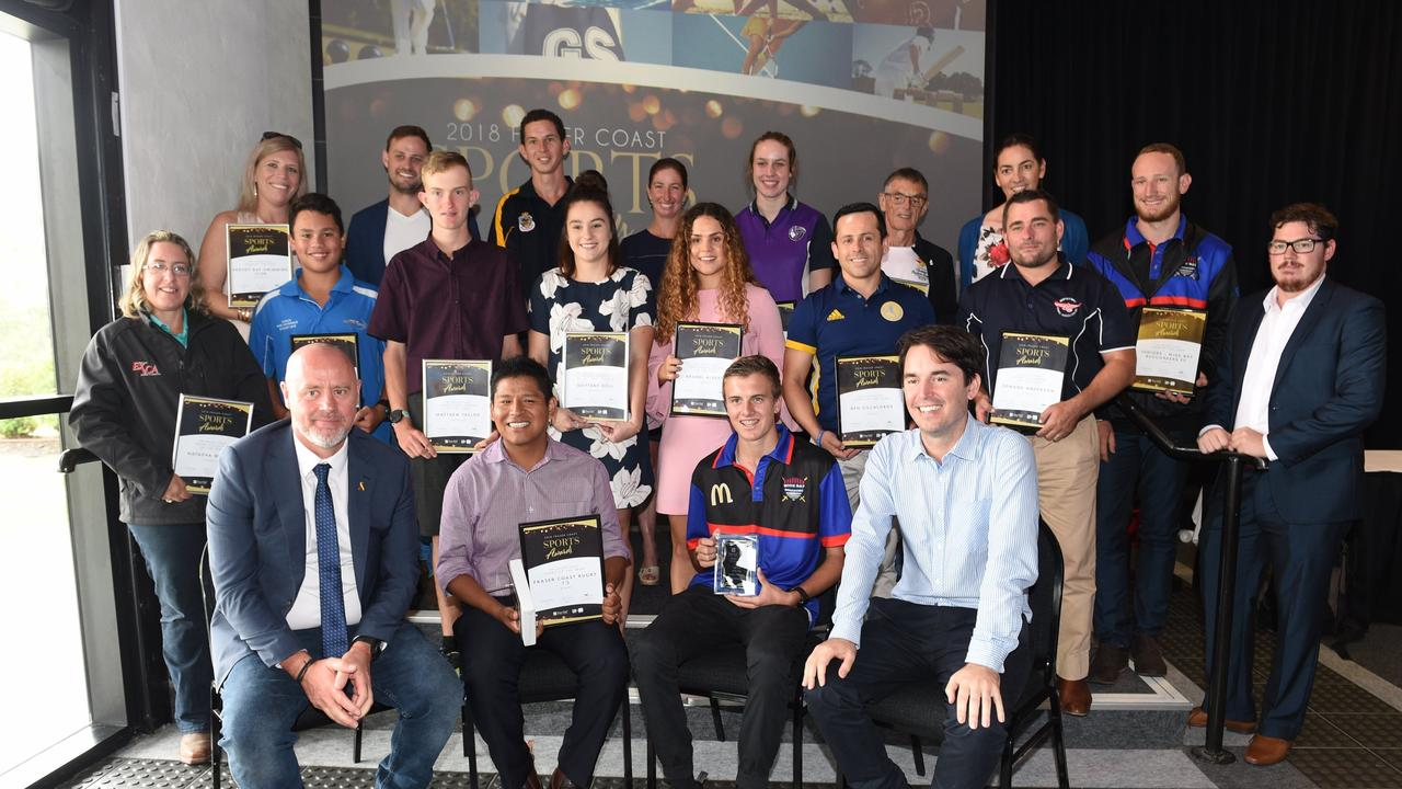nominations are now open for the 2021 Fraser Coast Sports Awards. Picture: 2018 Fraser Coast Sports Awards - award winners and runners-up. Back (L-R) Natasha Webber, Gillian Patterson, Keith Ashcroft, Caleb Ryan, Matthew Taylor, Daniel Parker, Brittany Roll, Kym Lingard, Brandi Alberts, Hannah Karrasch, Ben Villabolos, John Street, Eddie Anderson, Kerrianne Farrelly, Jacob Chapman and Chronicle s