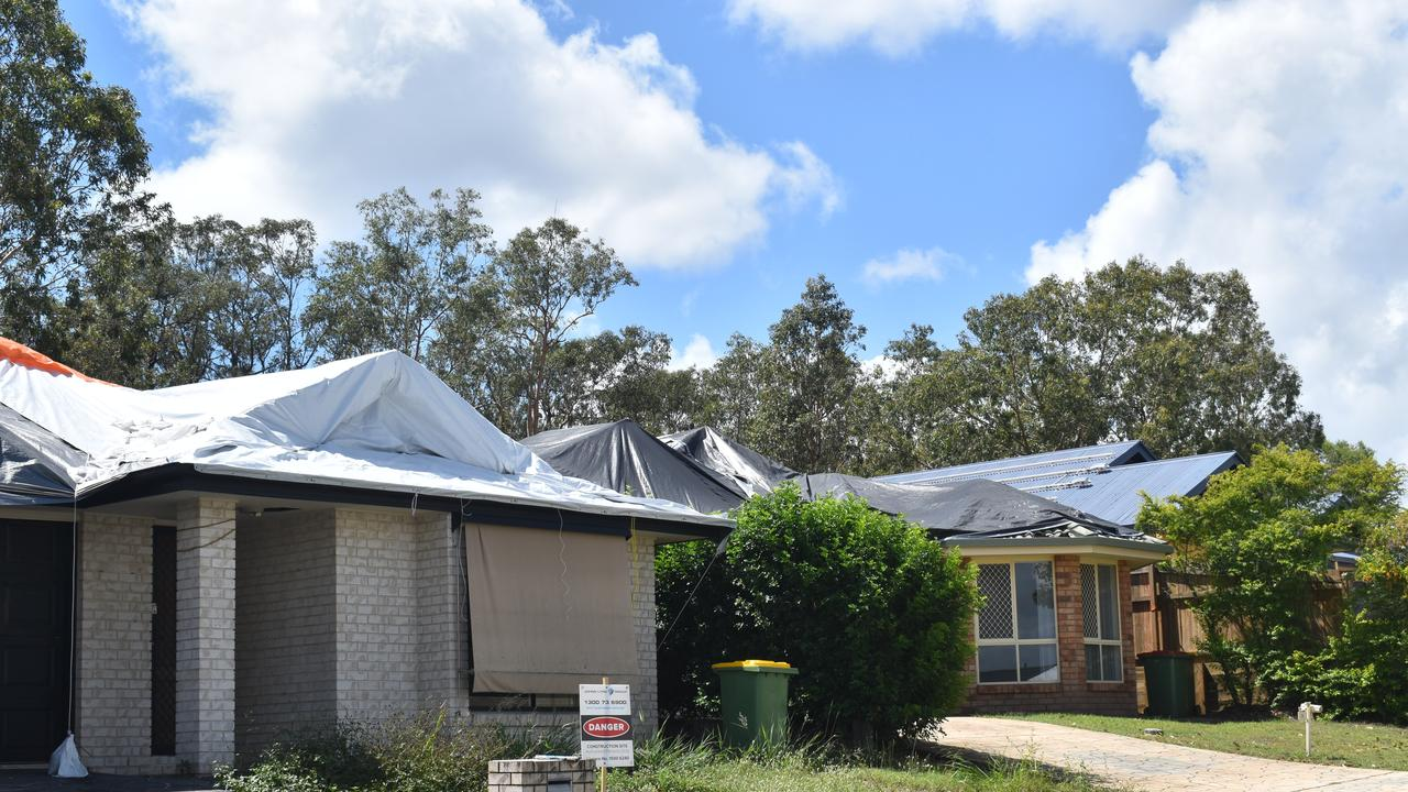 Houses damaged by the October hailstorms on Jezabel Drive, Springfield Lakes.