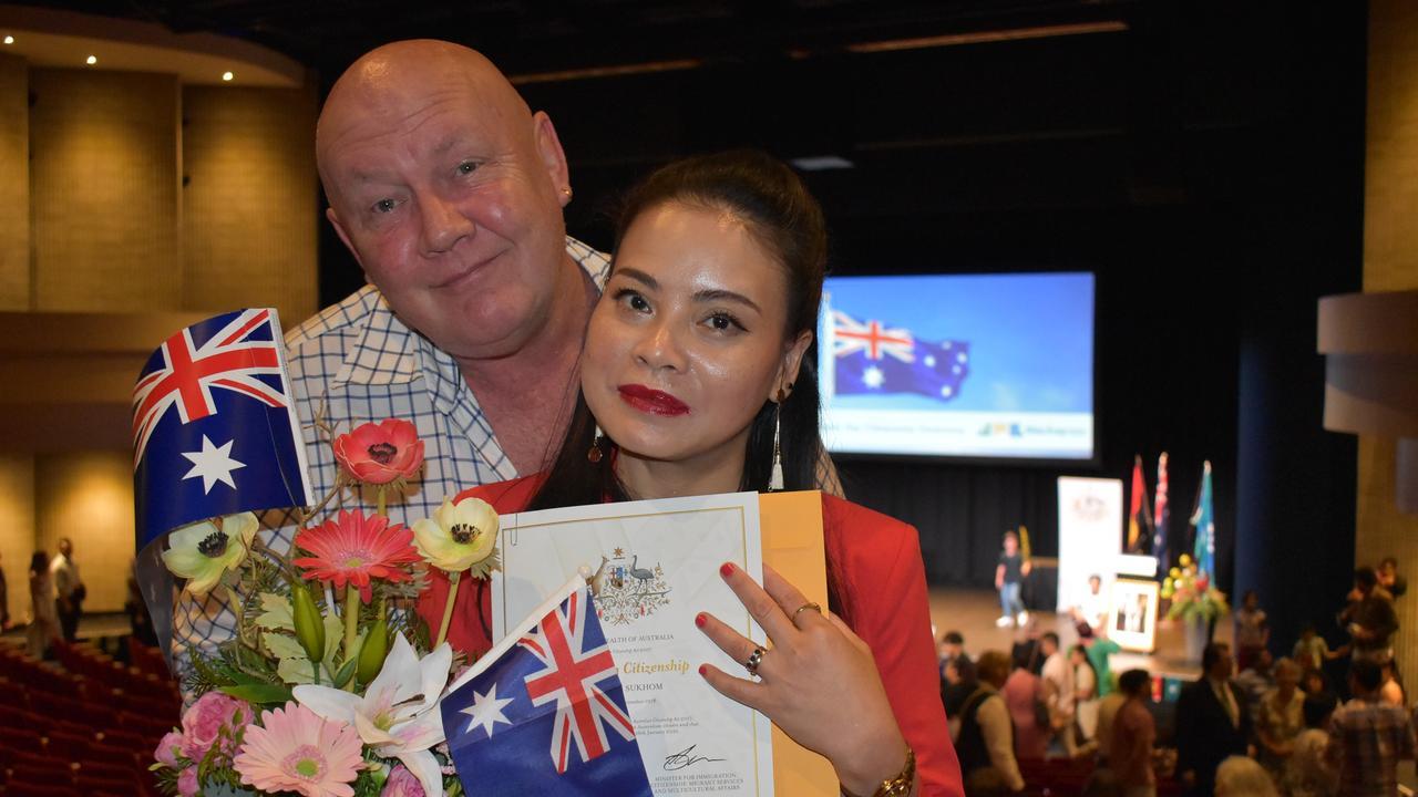 Paul Groves and Suphathida 'Joy' Sukhom at the Mackay Regional Council Australia Day citizenship ceremony. Picture: Tara Miko