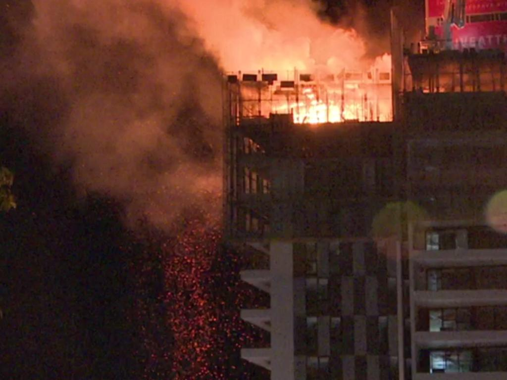 A high-rise fire in Liverpool on a building which contained the cladding. The company maintains the cladding, which is compliant in NSW, has never been responsible for the spread of fire. Picture: Top Notch Video