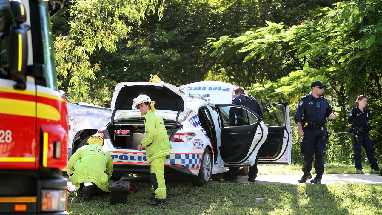 Emergency services on scene after juveniles in an alleged stolen Prado rammed a police vehicle. Picture: Alix Sweeney
