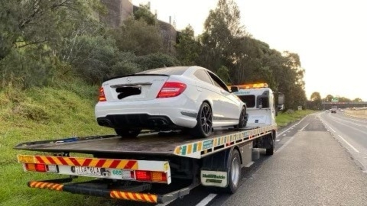 Two cars were allegedly racing on a Melbourne freeway at shocking speeds before one of the drivers had his Mercedes taken away.
