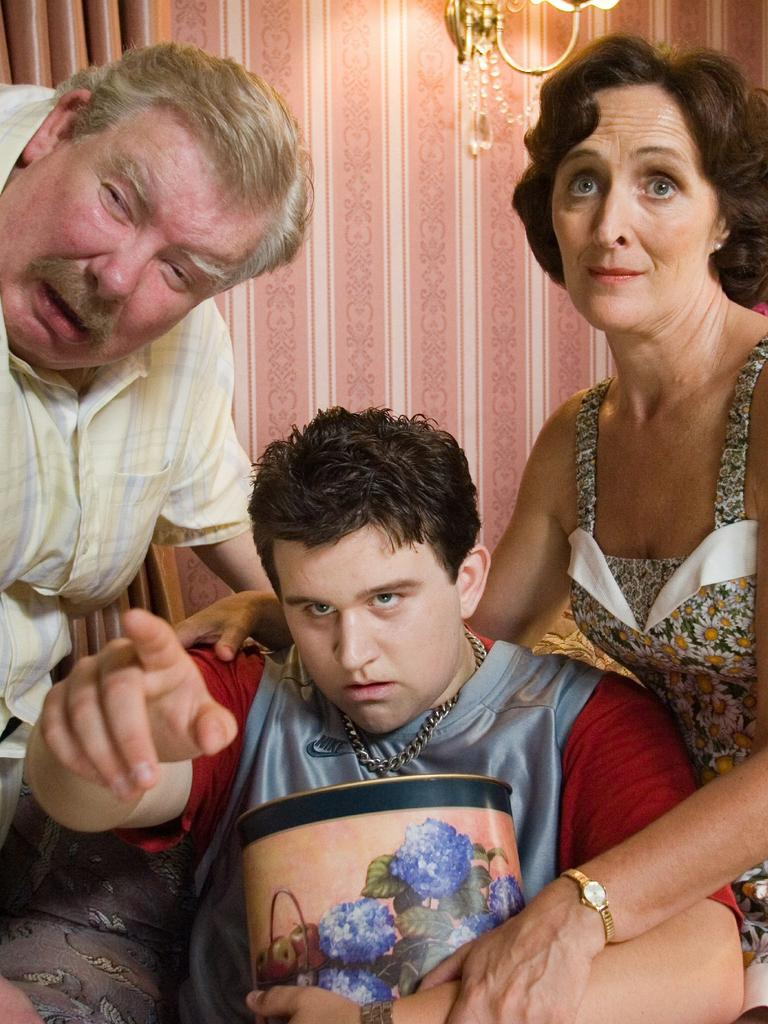 Harry Melling, centre, as Dudley Dursley in the Harry Potter franchise.