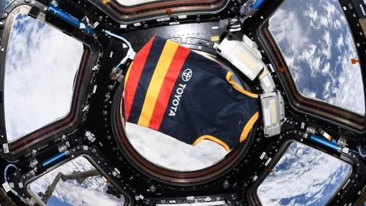 We Fly as One. Dr Walker's Crows jumper, on board with her on the ISS. Picture: NASA