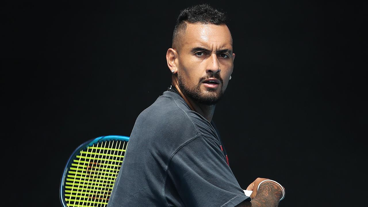 Nick Kyrgios training at Melbourne Park. Picture: Michael Klein
