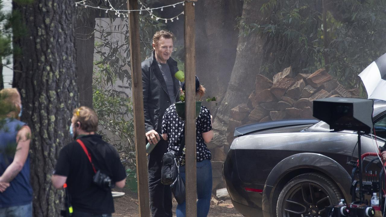 Liam Neeson on the set of Blacklight, currently being filmed in Australia. Picture: Rob Leeson.