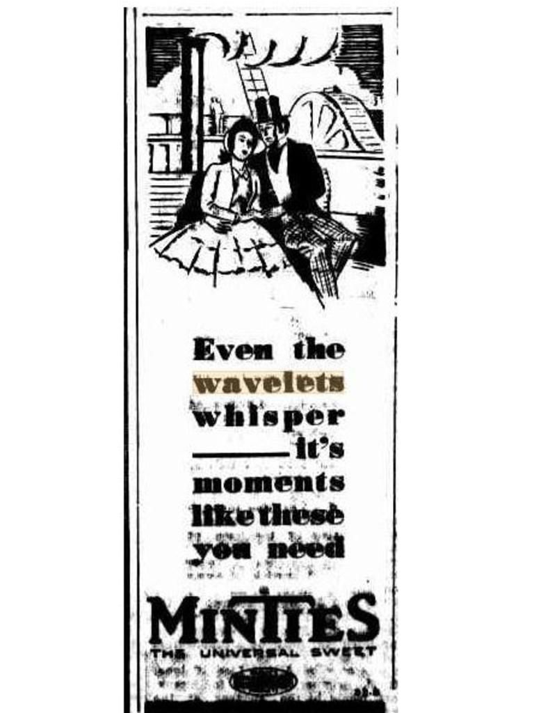 The Mackay Daily Mercury regularly referenced wavelets in its pages during the 1930s. Apparently Minties know where the wavelets are – according to this ad on September 27 1932. Picture: Trove/Mackay Daily Mercury