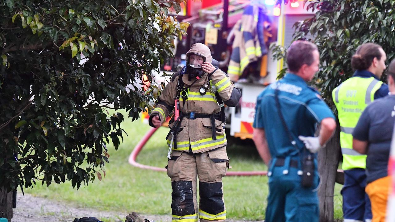 The blaze broke out in a carport of a Bush Tucker Ct, Eumundi home just before 6pm. Picture: Patrick Woods.