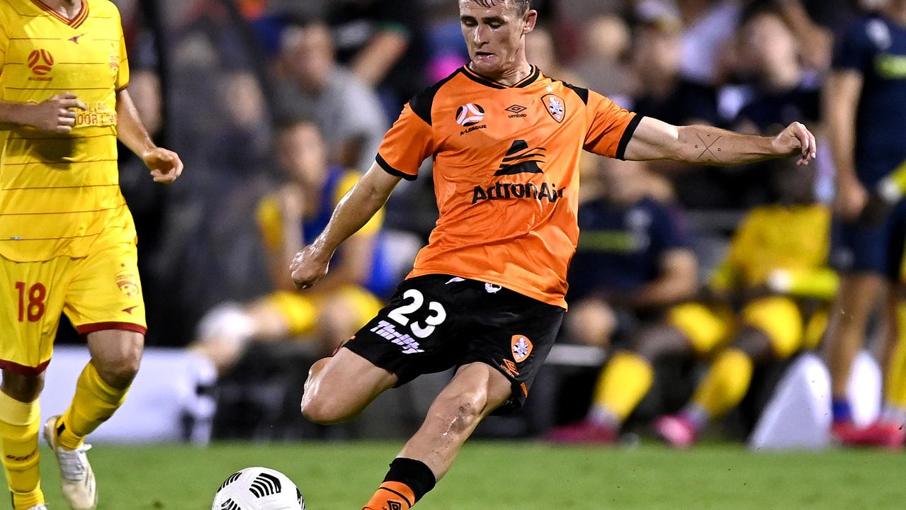Ipswich-bred Brisbane Roar striker Dylan Wenzel-Halls prepares to score in last night's 3-1 A-League victory over Adelaide United. Picture: Albert Perez/Getty Images