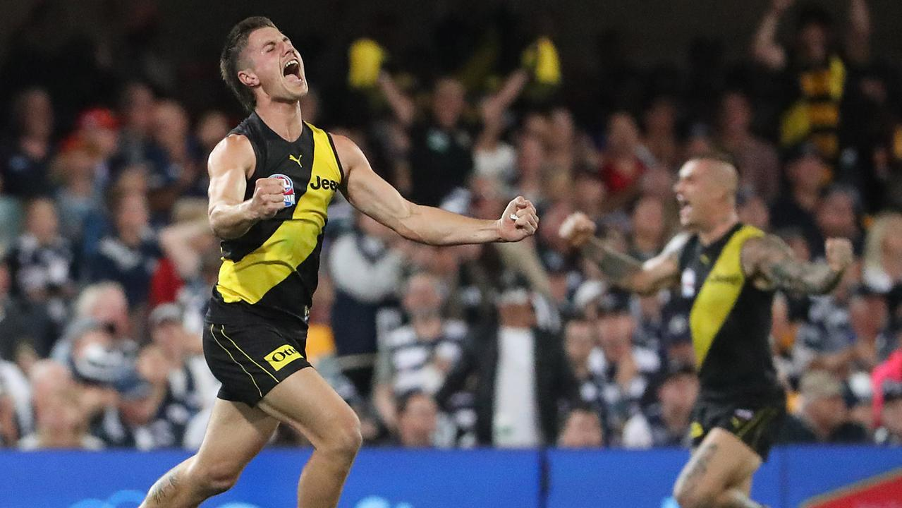 Baker celebrates the 2020 AFL Grand Final win.