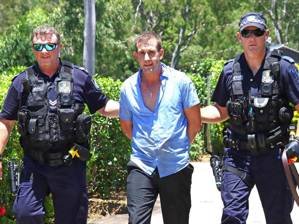 Police arrested two people on College Way in Boondall today after they allegedly stole a car. Picture: David Clark