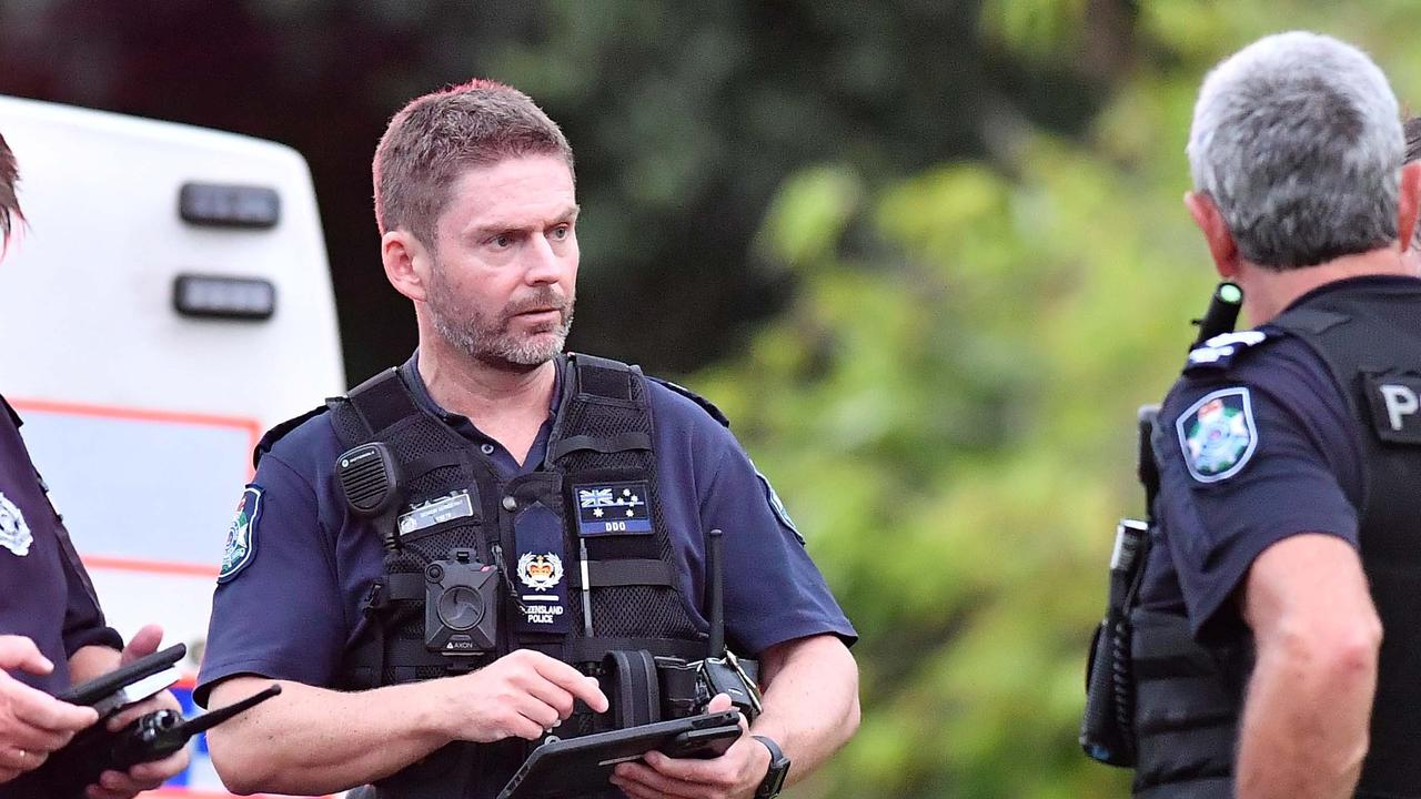 A blaze broke out in a carport of a Bush Tucker Ct, Eumundi home just before 6pm. District Duty Officer Senior Sergeant Matt Campbell with fellow officers. Picture: Patrick Woods.