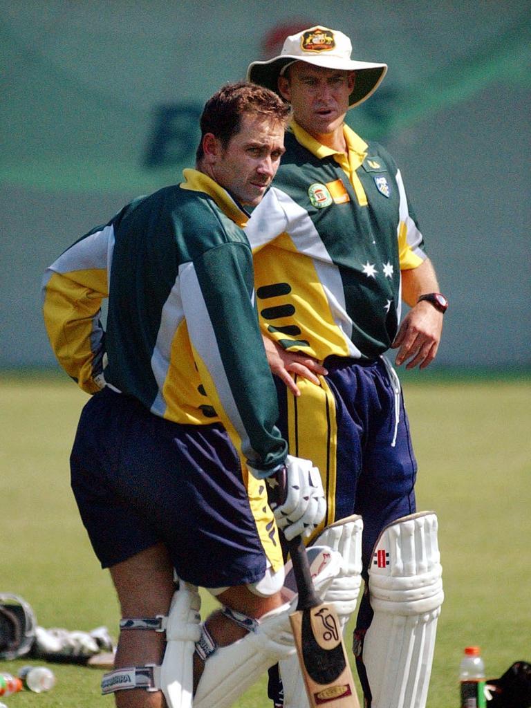 Justin Langer in his player days with Australian opening partner Matthew Hayden. Picture: Matthias Engesser/AAP