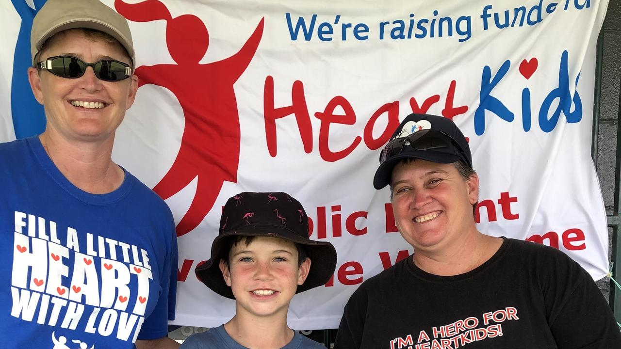 Ipswich Vigoro president Deanne Lawrie (left) with Heartkids ambassador Kelly Verrall and her nephew William at the latest fun day with a special purpose.