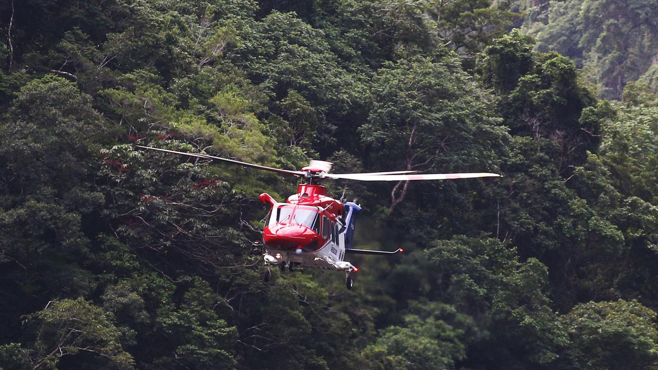 A rescue helicopter was used in the incident near Barron Gorge. PICTURE: BRENDAN RADKE
