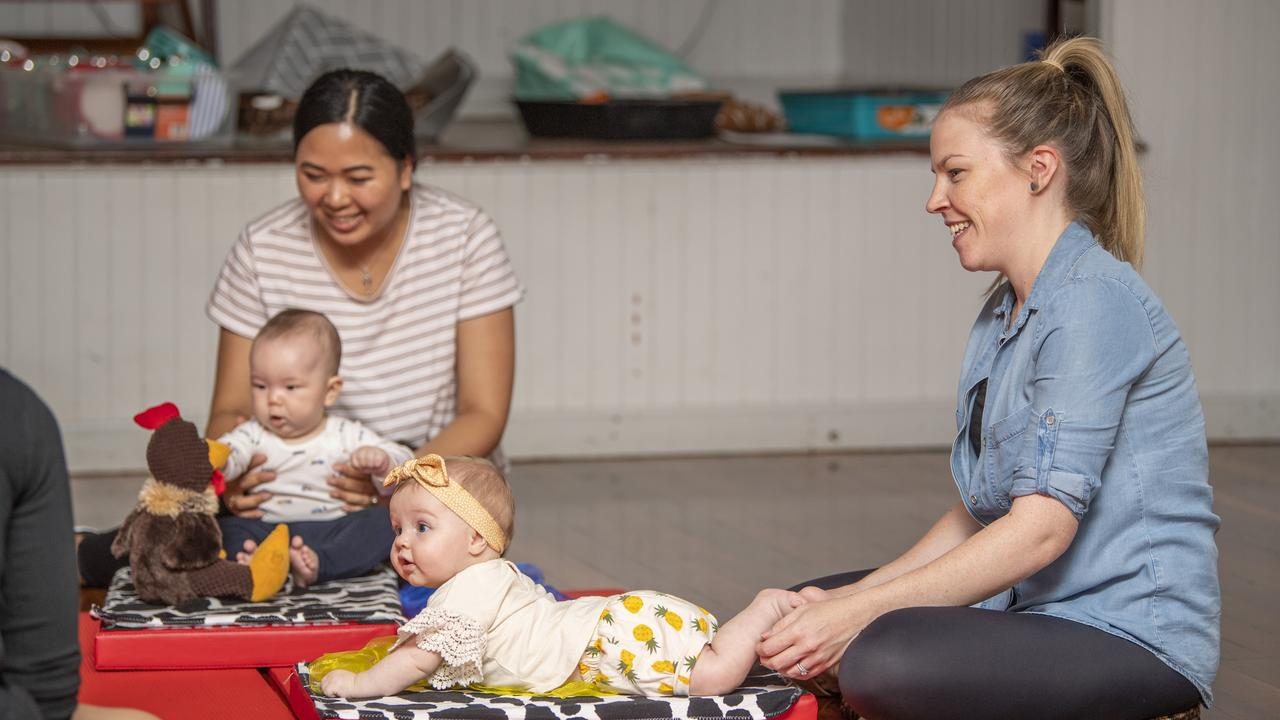 MUMS AND BUBS: Enjoying an outing at the Toowoomba Maggie Moo Music class on Monday are Nancy Jahnke (left) with her baby Felix Jahnke, born at St Vincent's on August 30, 2020, and Cassie Porter with her daughter Rainey, born at St Vincent's on August 1, 2020. Picture: Nev Madsen