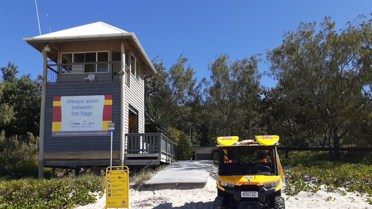 A body was found in front of the Rainbow Beach life-saving tower (pictured) this morning.