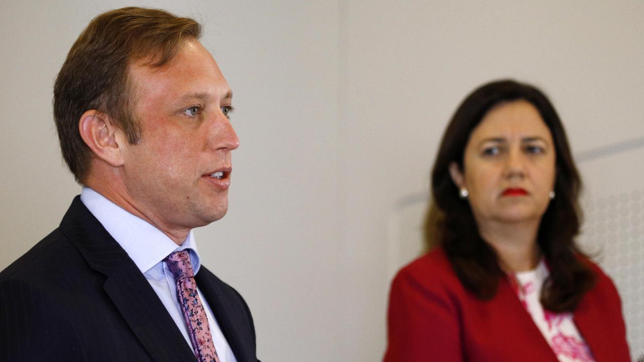 Deputy Premier Steven Miles with Premier Annastacia Palaszczuk. Picture: NCA NewsWire/Tertius Pickard