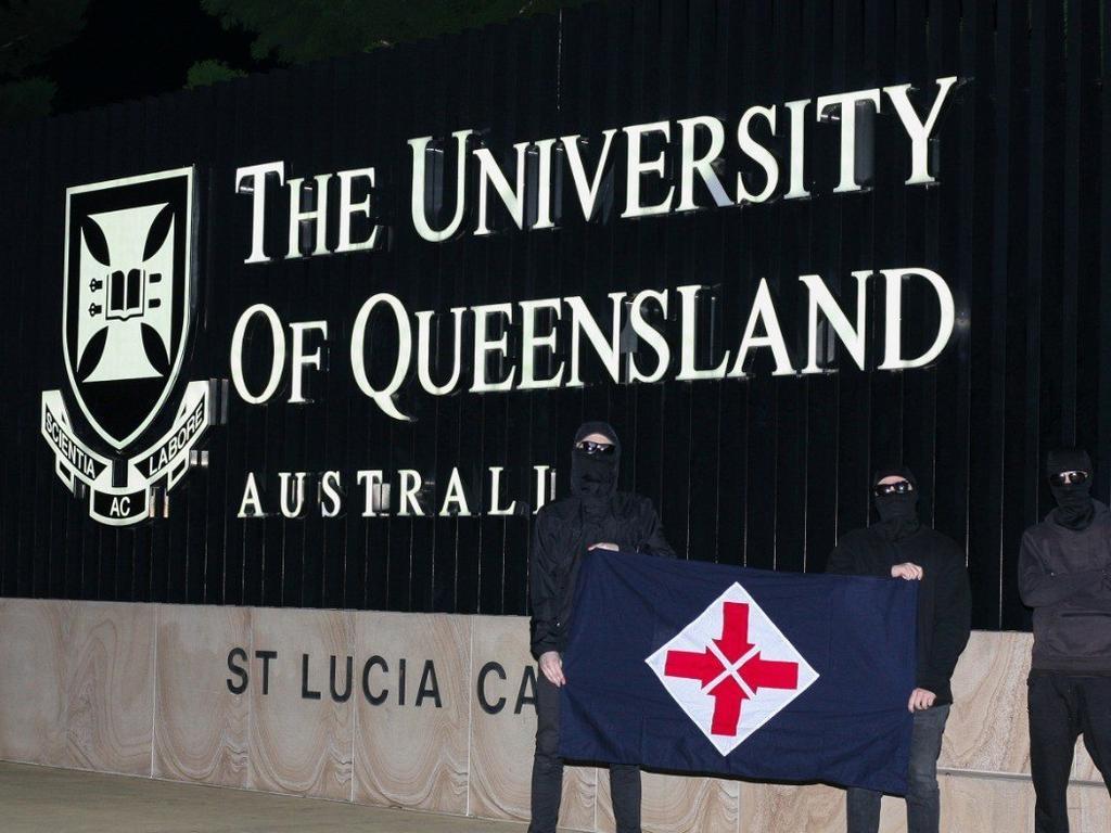 The neo Nazis outside UQ.