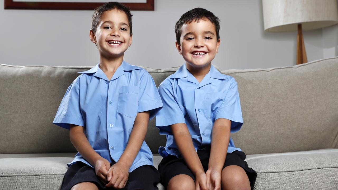 Twin brothers Lorcan (right) and Ruaidhri Nolan, 5, don't get to use tablets at home. Picture: Jonathan Ng