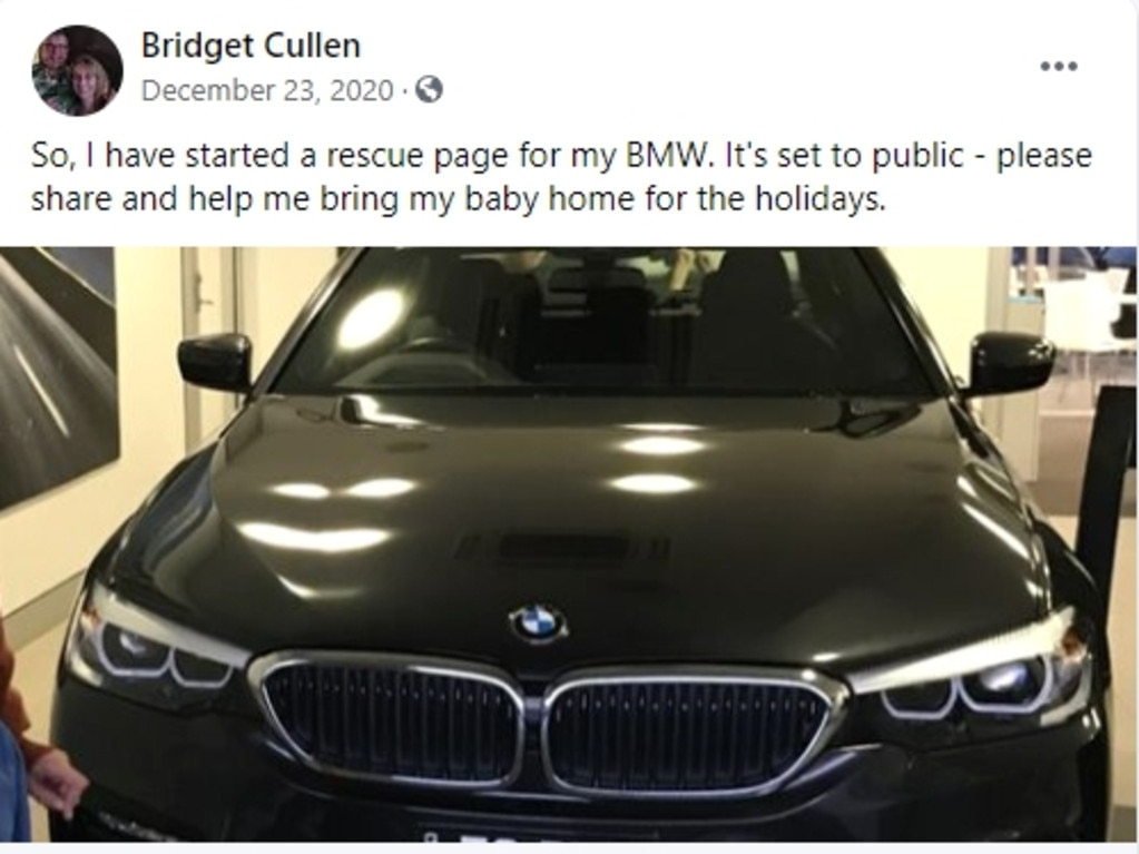 Bridget Cullen has a Facebook page dedicated to Bridget's BMW Rescue Journey after her car was stolen Picture Facebook.