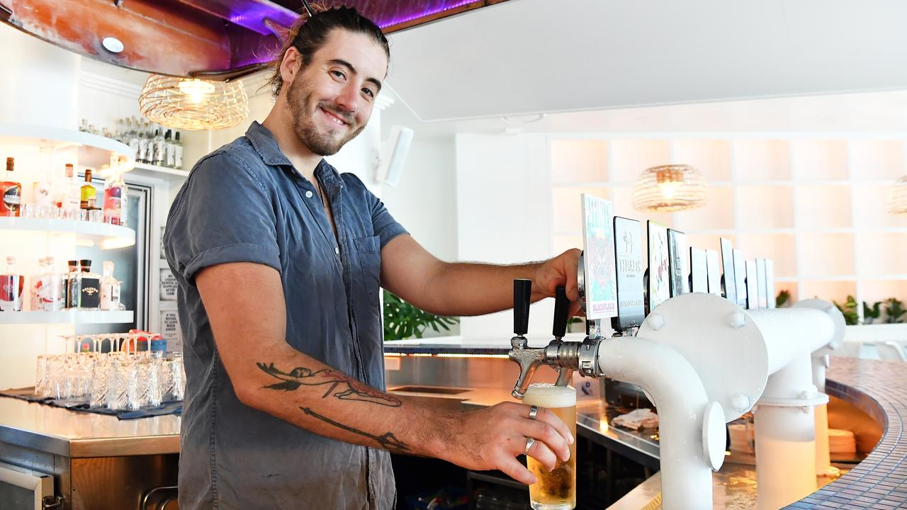 The Nautical manager Cody Smith pictured behind the bar at the new Ocean St venue. Photo: Patrick Woods.