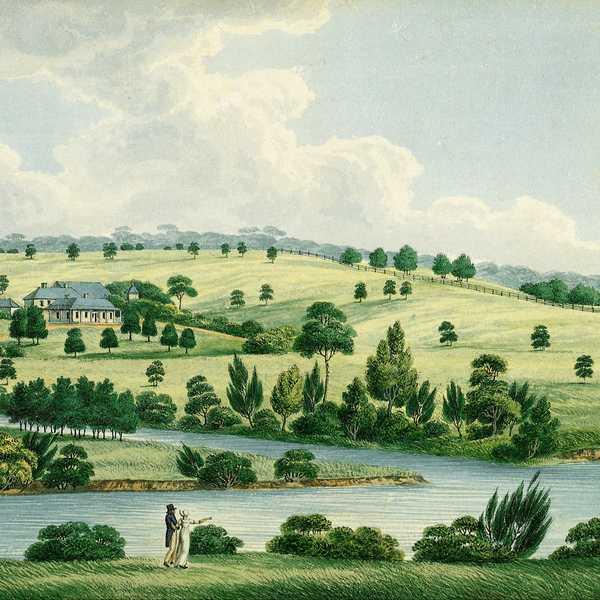A romanticized painting of Elizabeth Farm by Joseph Lycett. Image: Public domain, via Wikimedia Commons