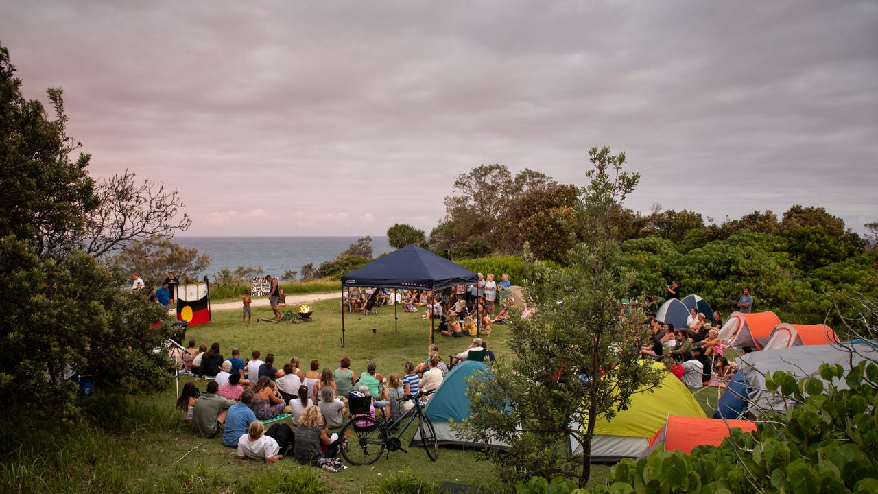 A tent embassy has been set up at Headland Park on North Stradbroke Island to protest a proposed whale centre. Picture: Stuart Quinn