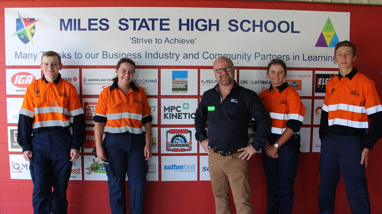 DONATION: Students at Miles State High School are set the further their trade skill after MPC Kinetic $10k to go towards PPE gear. Pic: Supplied