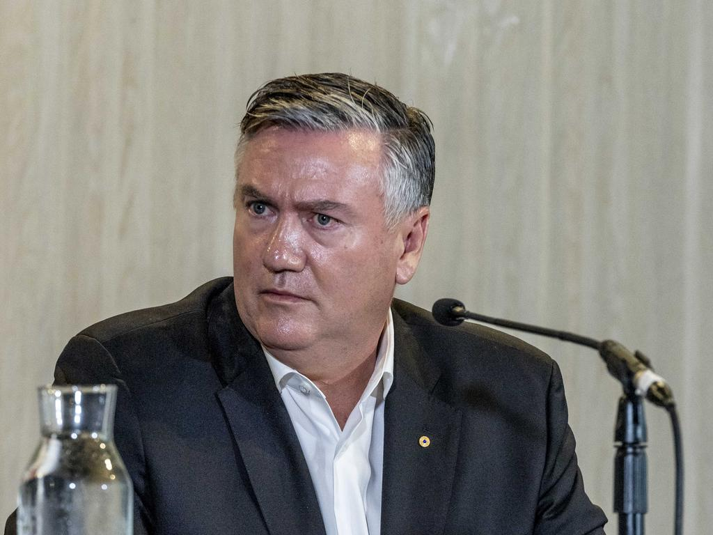 Eddie McGuire speaking to reporters on Monday.