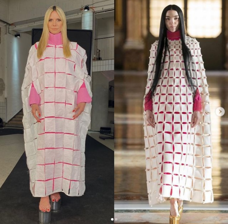 She made the unique dress using toilet paper and compared it Valentino's actual creation. Picture: Instagram/HeidiKlum