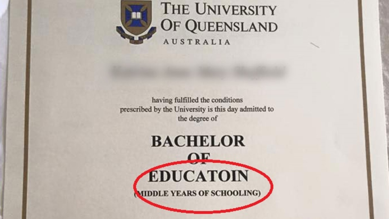 A Reddit user has shared a photo of a colleague's teaching degree that shows a very unfortunate typo in bold. Can you spot it?