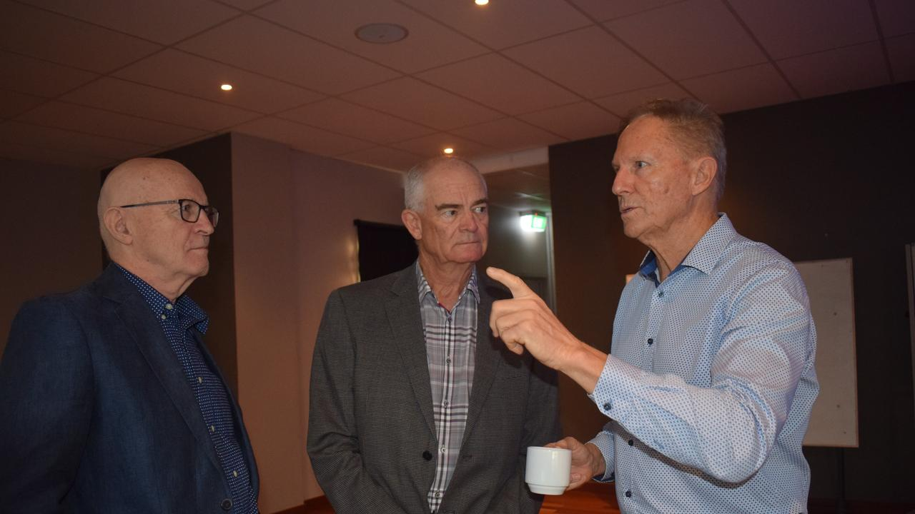 Terry Ryder, Dennis Jurss and Tony Goodman at a Gympie Chamber of Commerce breakfast.