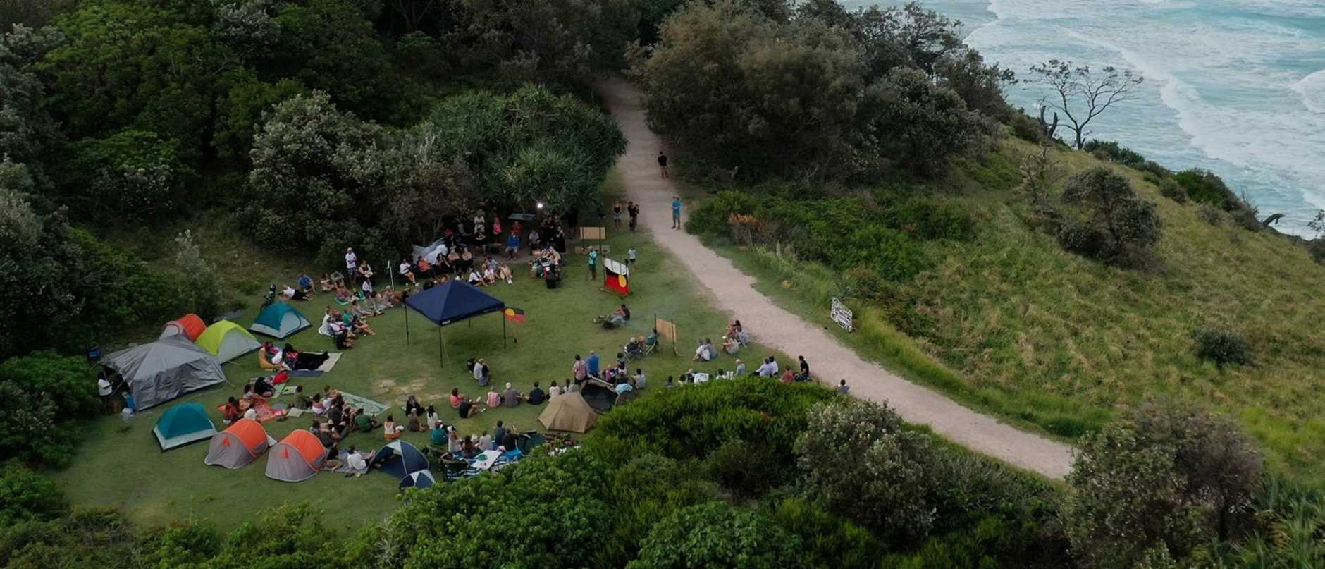 A sit-in at Point Lookout on North Stradbroke Island opposing the whale sculpture.