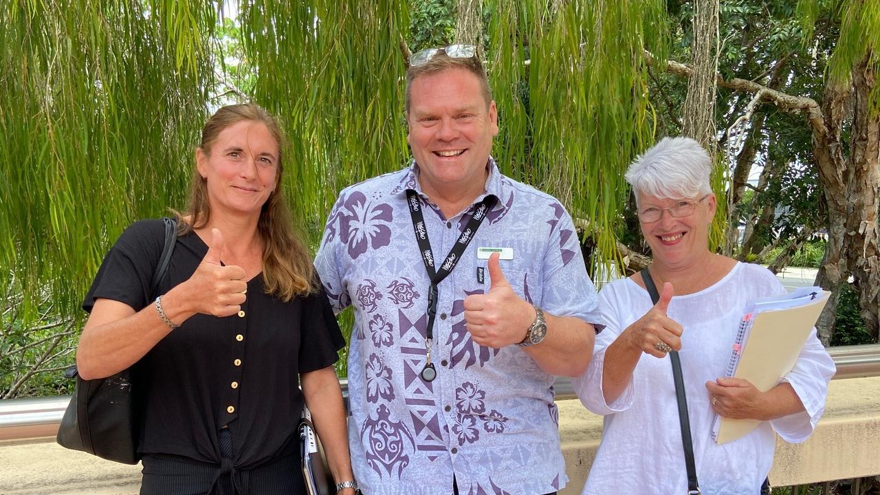 Save Noosa Hinterland's Sarah Keating, Noosa Council liaison officer Ian Williams and Jann Bonsall of the Kin Kin Community Group look forward to a possible planning court legal challenge.